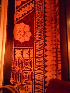 Tapa cloth on the wall at The Breakers in Crystal Lake