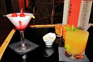 Red Coconut and Original Mai Tai drinks at Le Tiki Lounge in Paris