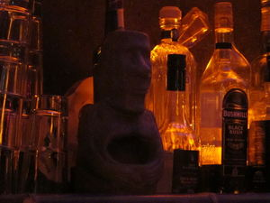 Behind the bar at Le Tiki Lounge in Paris