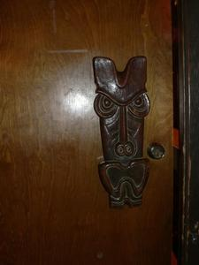 Tiki doorpull at Royal Hawaiian in Laguna Beach