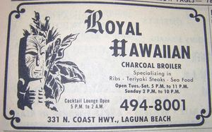 Phone book ad for Royal Hawaiian, from the Laguna Beach Public Library