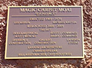 Plaque on the moai at The Hut in Tucson