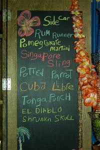 Drink list at Mai Tiki Bar in Indianapolis