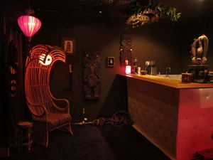 Rattan wave chair and bar at Balhi Ha'i in San Francisco