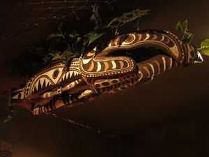 Canoe prow from Papua New Guinea over the bar at Balhi Ha'i in San Francisco