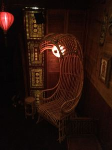 Wave chair and tapa light panel at Balhi Ha'i in San Francisco
