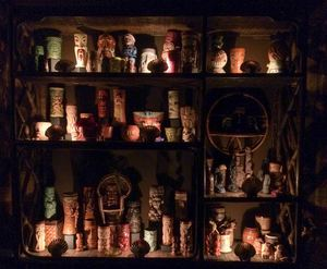 Mug shelf at Balhi Ha'i in San Francisco
