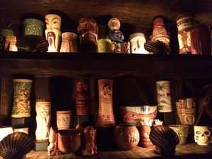 Some of the mug collection at Balhi Ha'i in San Francisco