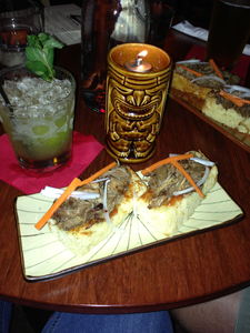 Mai Tai and Puaa Puaa Pork Sliders at Hale Pele in Portland
