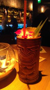 Drink served in a tiki mug at Three Dots and a Dash in Chicago