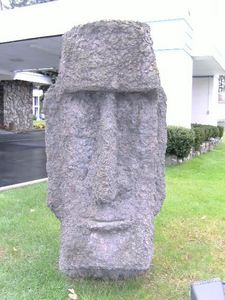 Moai at the front of The Tiki in Lake George