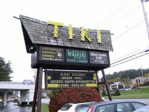 Sign for The Tiki in Lake George