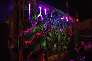 Backlit lava wall at Grass Skirt Tiki Room in Columbus