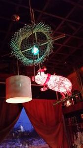 Lighting over the bar at Porco Lounge & Tiki Room in Cleveland
