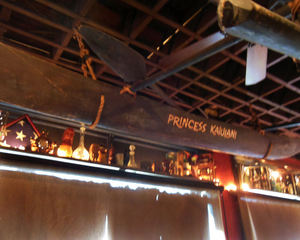 The Princess Kaiulani outrigger hangs from the ceiling at Porco Lounge & Tiki Room in Cleveland