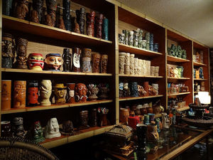 Part of the mug collection at Trader Scott's Tiki Bar and Lounge in Knoxville