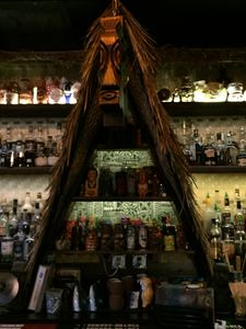 A-frame behind the bar at Lei Low in Houston