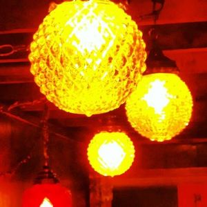 Lighting above the bar at The Sandy Bottom in Portland
