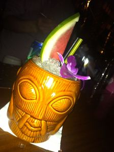Drink served in a tiki mug at Honi Honi in Hong Kong