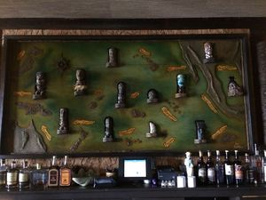 Map of carvings of the Pacific Ocean behind the bar at Beachbum Berry's Latitude 29 in New Orleans