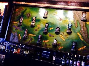 Pacifc islands map carving by Tiki Diablo at Beachbum Berry's Latitude 29 in New Orleans