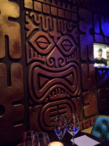 "The ""Temple of Doom"" wall at The Tiki Hideaway in Charlotte"