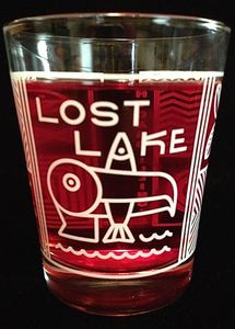 Souvenir glass from Lost Lake in Chicago