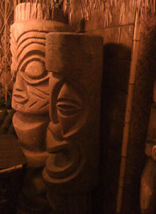 Tikis from Chin Tiki in the dining room at Chin's Chop Suey in Livonia