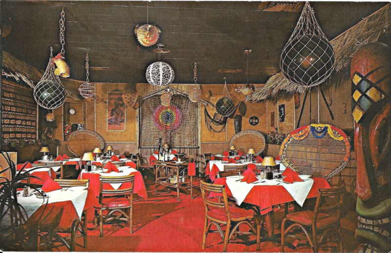 Postcard Showing The Interior With Tikis At Jade East In Towson Md