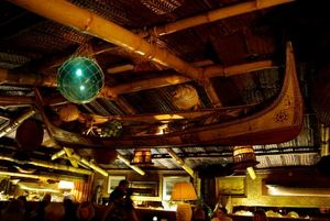 Above the bar seating area at Trader Vic's in London