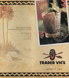 Current brochure highlighting the 75th Anniversary, from Trader Vic's in L