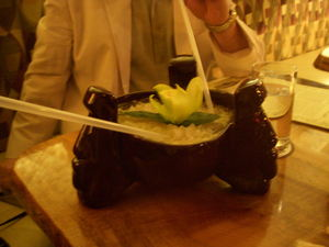 "The ""Tiki Bowl"" (served in a Moai bowl) at Trader Vic's in London"