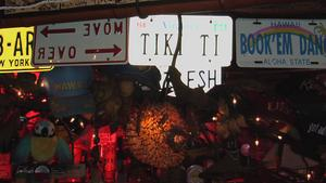 Pufferfish lamp and license plates at Tiki-Ti in Los Angeles