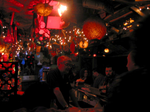 Mike Buhen chats with patrons at Tiki-Ti