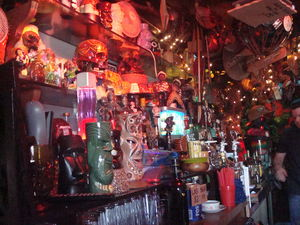 Behind the bar at Tiki-Ti in Los Angeles