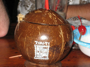 Souvenir coconut mug at Tiki-Ti in Los Angeles