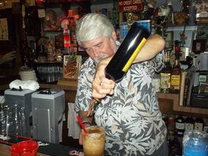 Mike Buhen, Sr. pouring an Uga Booga at Tiki-Ti in Los Angeles