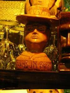 Beachbum Berry mug behind the bar at Tiki-Ti