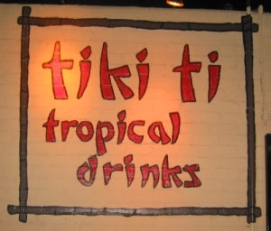 Painted sign on the side of Tiki-Ti