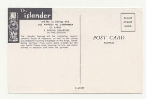 Reverse of postcard from The Islander in Los Angeles